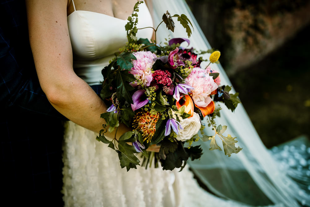 Bouquet Flowers Bride Bridal Peony Rose Pink Orange Sperry Tent Wedding Hayley Baxter Photography