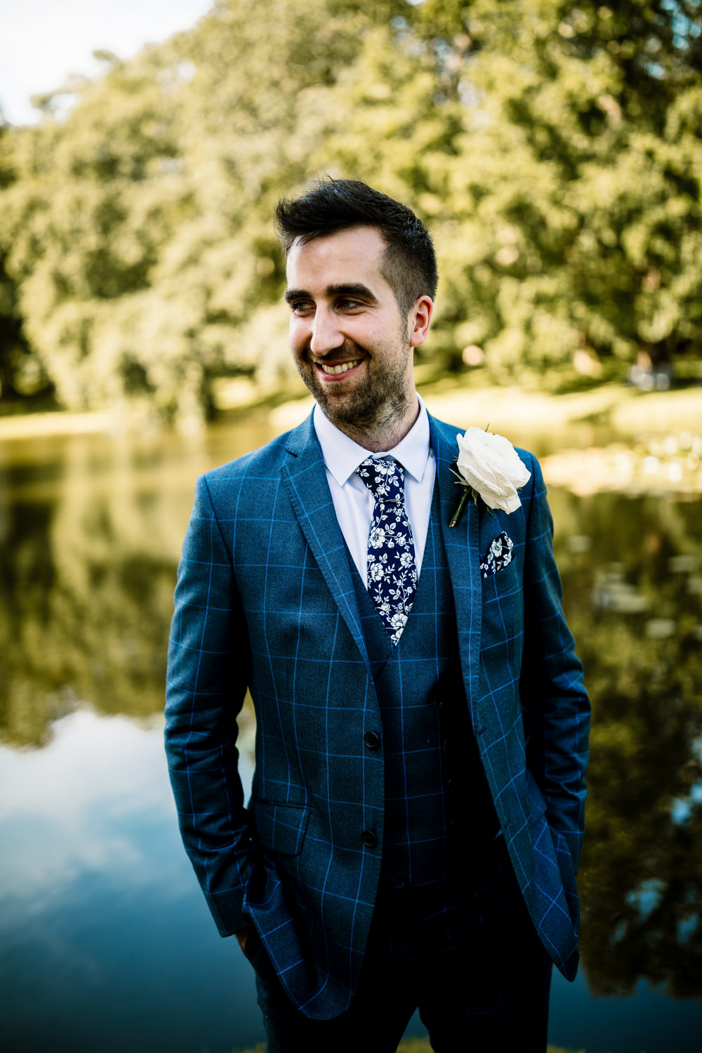 Groom Suit Blue Floral Tie Sperry Tent Wedding Hayley Baxter Photography
