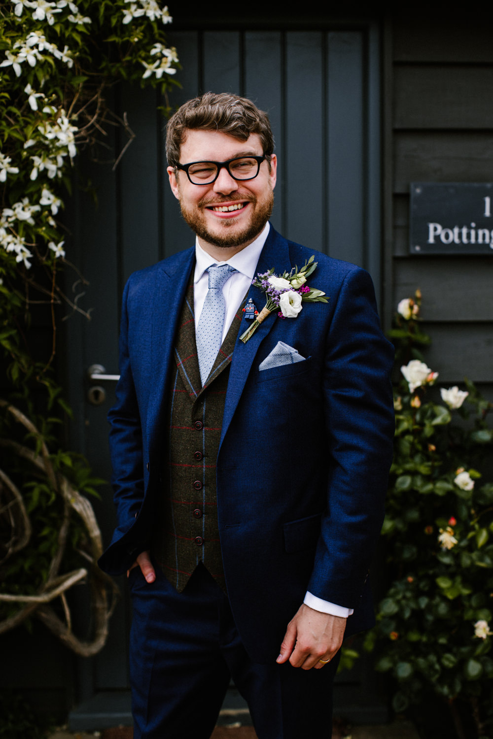 Groom Suit Tweed Waistcoat Blue Tie Titchwell Manor Wedding Honey and The Moon Photography