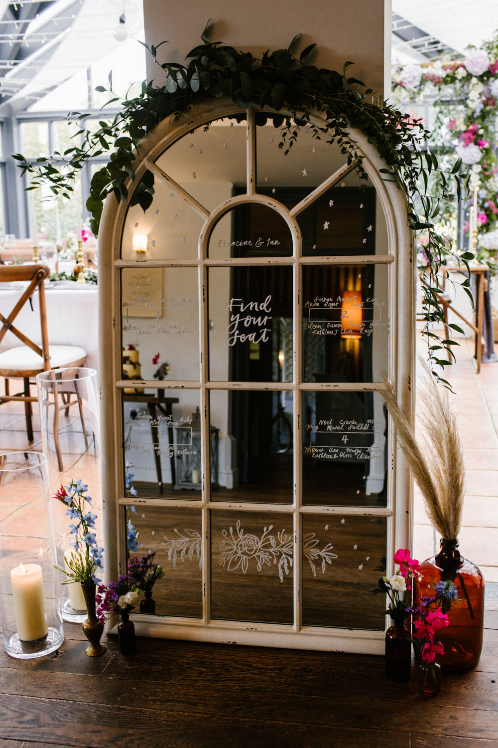 Mirror Frame Table Plan Seating Chart Titchwell Manor Wedding Honey and The Moon Photography