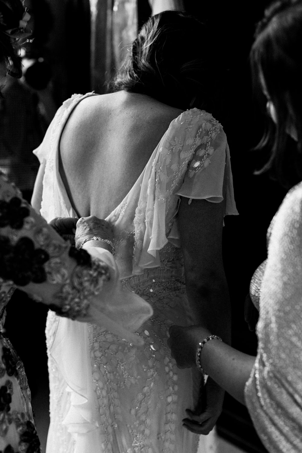 Dress Gown Bride Bridal Eliza Jane Howell Sleeves Sequins Veil Titchwell Manor Wedding Honey and The Moon Photography