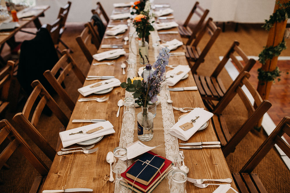 Long Wooden Trestle Tables Rustic Flowers Tree Cathedral Wedding Milton Keynes Miracle Moments