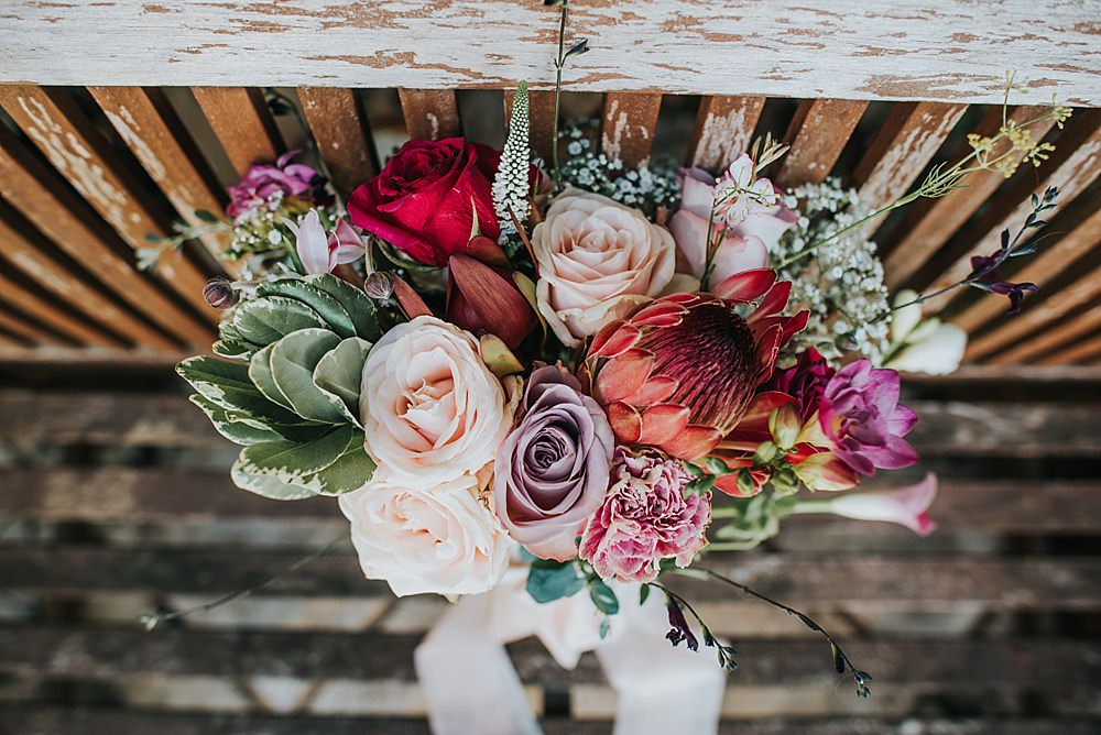 Bouquet Flowers Bride Bridal Pink Purple Rose Protea Succulent Boho Rustic Wedding This and That Photography