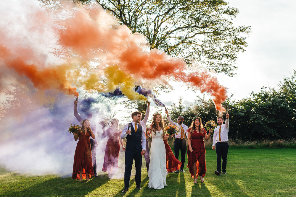 Brook Farm Wedding Kirsty Mackenzie Photography Smoke Bomb Portrait Photos