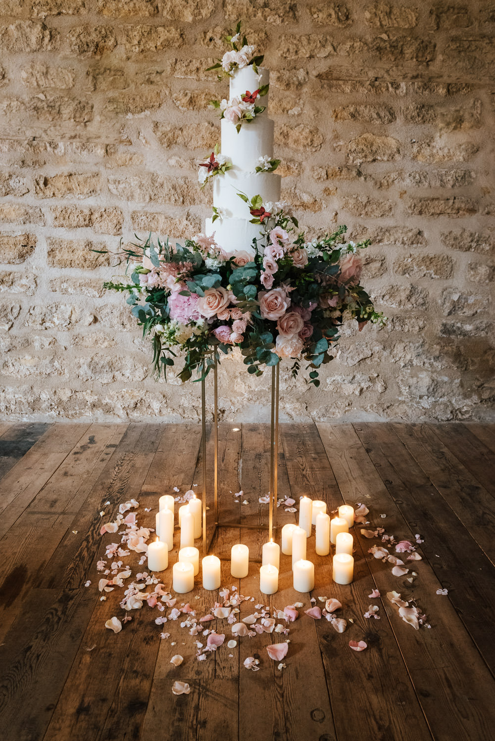 Floral Cake Pretty Pink Flowers Candles Petals Cherry Blossom Wedding Ideas Sugarbird Photography