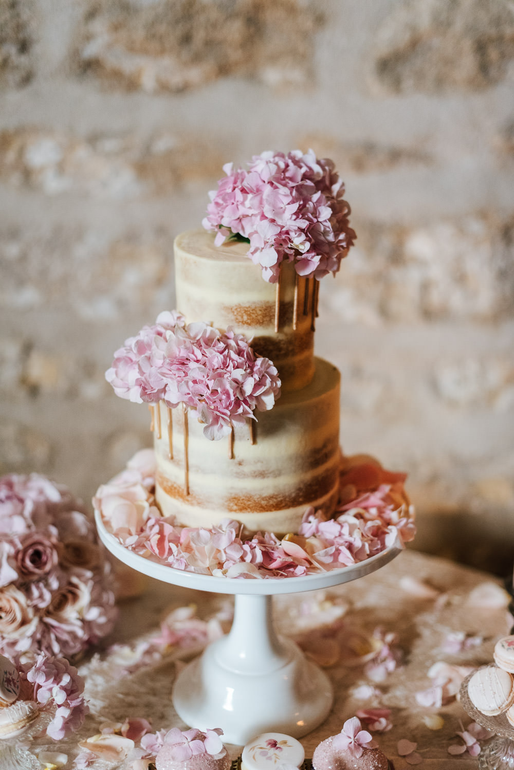 Floral Cake Pretty Pink Flowers Candles Dessert Cupcakes Naked Sponge Layer Cherry Blossom Wedding Ideas Sugarbird Photography