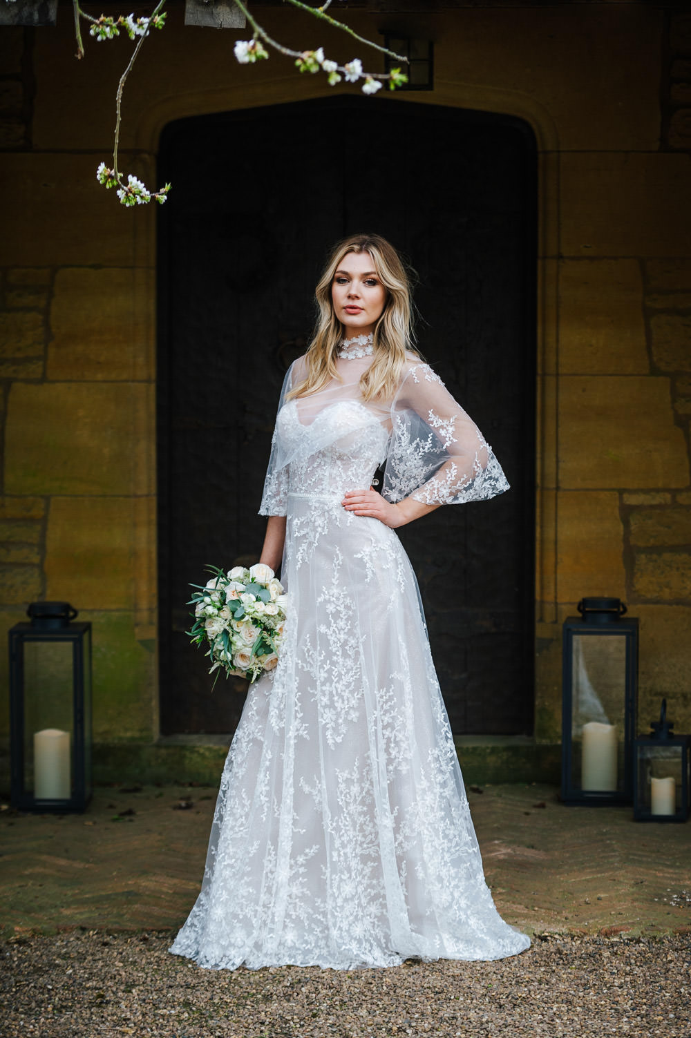Dress Gown Bride Bridal Straps Train Lace Cape Cherry Blossom Wedding Ideas Sugarbird Photography