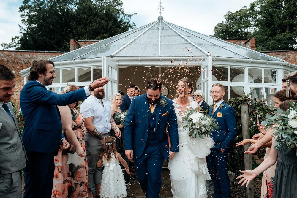 Confetti Throw Combermere Abbey Wedding Damian Brandon Photography