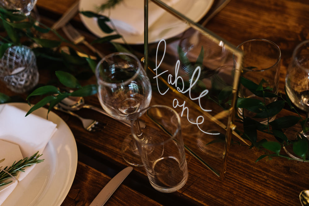 Perspex Clear Acrylic Glass Table Number Name Lodge Farm Wedding David Boynton Wedding Photography