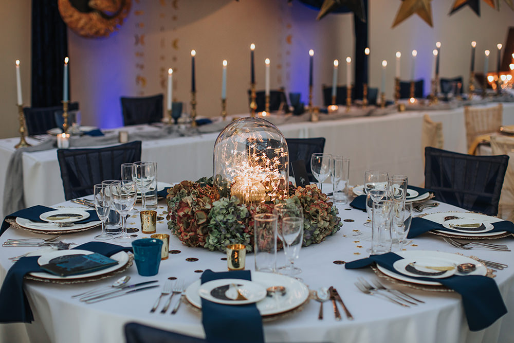 Tablescape Table Decor Hanging Suspended Blue Gold Terrarium Moon Stars Wedding Ideas Olegs Samsonovs Photography
