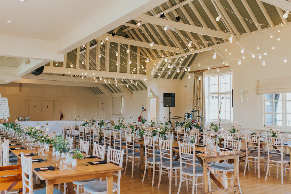 Long Tables Festoon Lights Flowers Barn Hall Thorpeness Country Club Wedding Charlotte Razzell Photography