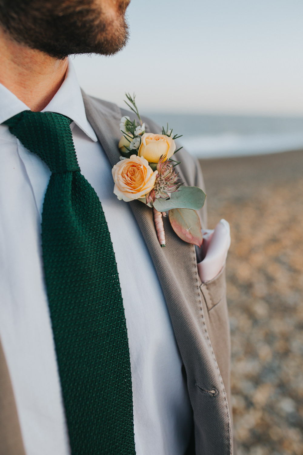 Groom Suit Grey Green Tie Buttonhole Flowers Thorpeness Country Club Wedding Charlotte Razzell Photography