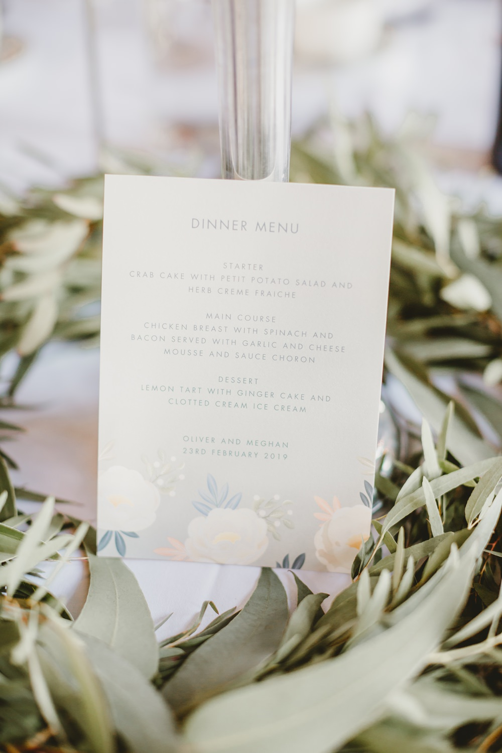 Menu Floral Stationery York Minster Wedding Amy Lou Photography