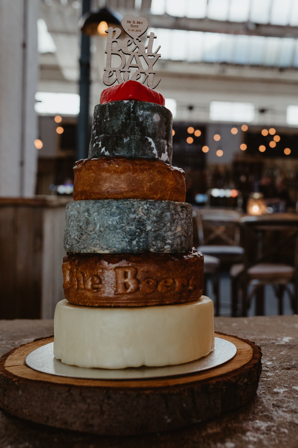 Cheese Cake Stack Tower Arches Dean Clough Wedding Stevie Jay Photography
