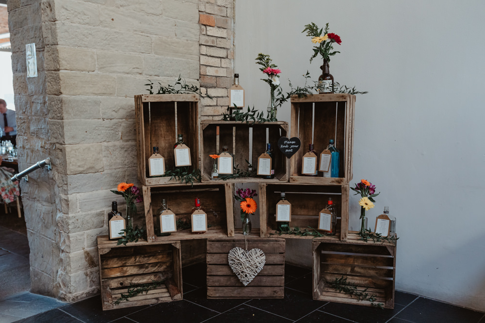 Table Plan Bottles Seating Chart Wooden Crates Boxes Flowers Decor Arches Dean Clough Wedding Stevie Jay Photography