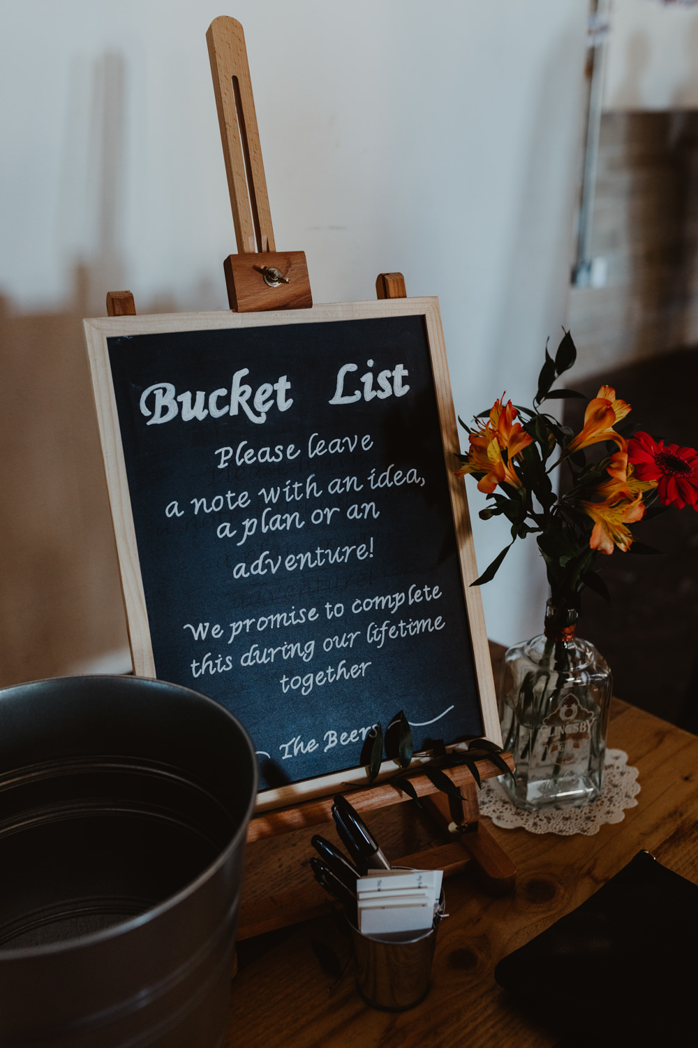 Guest List Bucket List Sign Signs Signage Arches Dean Clough Wedding Stevie Jay Photography