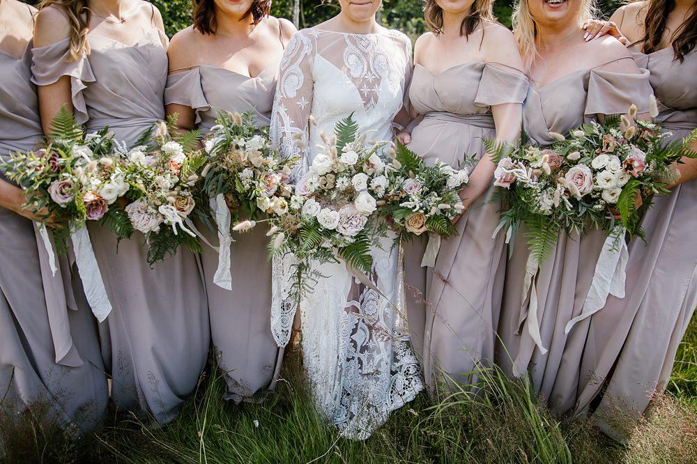 Bouquet Flowers Bride Bridal Blush Rose Fern Ribbon Bridesmaids Chaucer Barn Wedding Katherine Ashdown Photography
