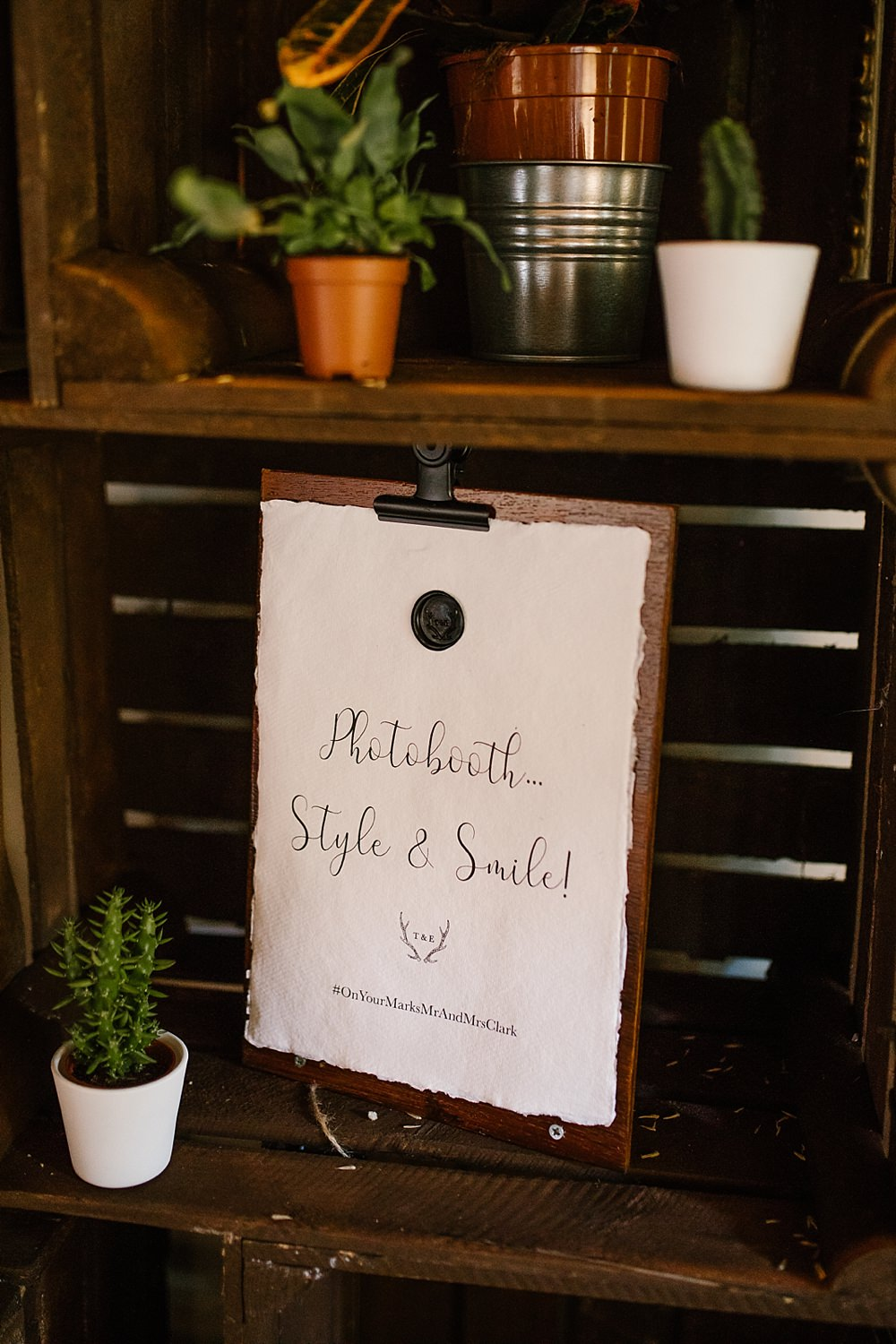 Photo Booth Sign Signs SignageChaucer Barn Wedding Katherine Ashdown Photography