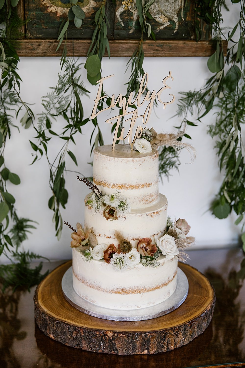 Semi Naked Cake Flowers Wooden Laser Cut Topper Chaucer Barn Wedding Katherine Ashdown Photography