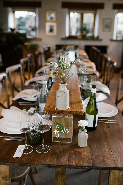 Long Wooden Tables Decor Bottle Flowers Chaucer Barn Wedding Katherine Ashdown Photography