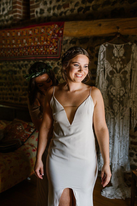 Slip Dress Bride Bridal Chaucer Barn Wedding Katherine Ashdown Photography