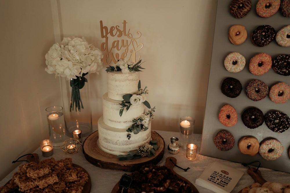 Semi Naked Cake Greenery Topper Combermere Abbey Wedding Damian Brandon Photography