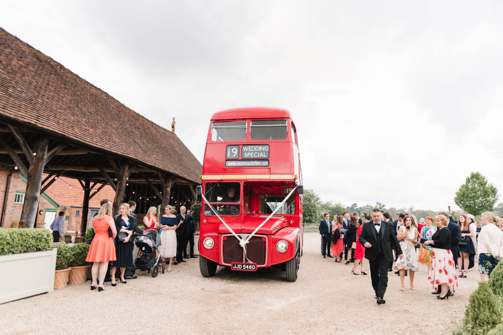 Double Decker Red Bus Transport Dove Grey Wedding Danielle Smith Photography