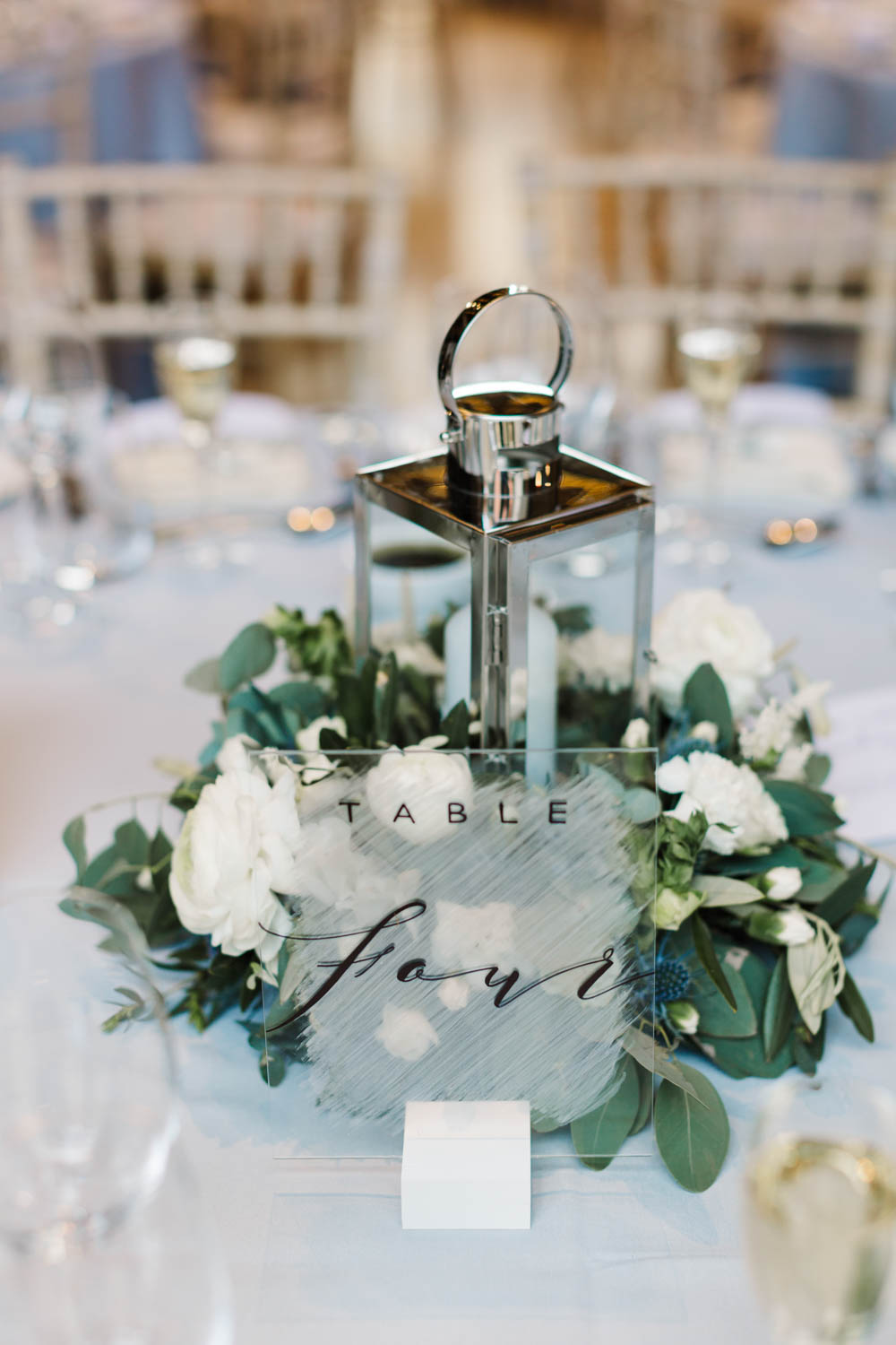 Centrepiece Hurricane Lamp Candle Flowers Acrylic Perspex Calligraphy Table Number Dove Grey Wedding Danielle Smith Photography
