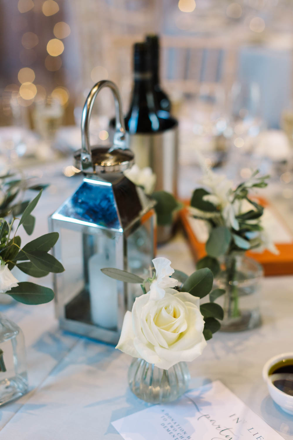 Centrepiece Hurricane Lamp Candle Flowers Dove Grey Wedding Danielle Smith Photography