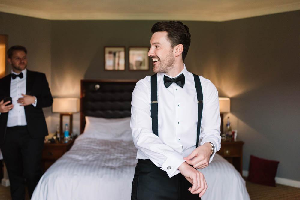 Groom Suit Braces Bow Tie Tux Tuxedo Dove Grey Wedding Danielle Smith Photography