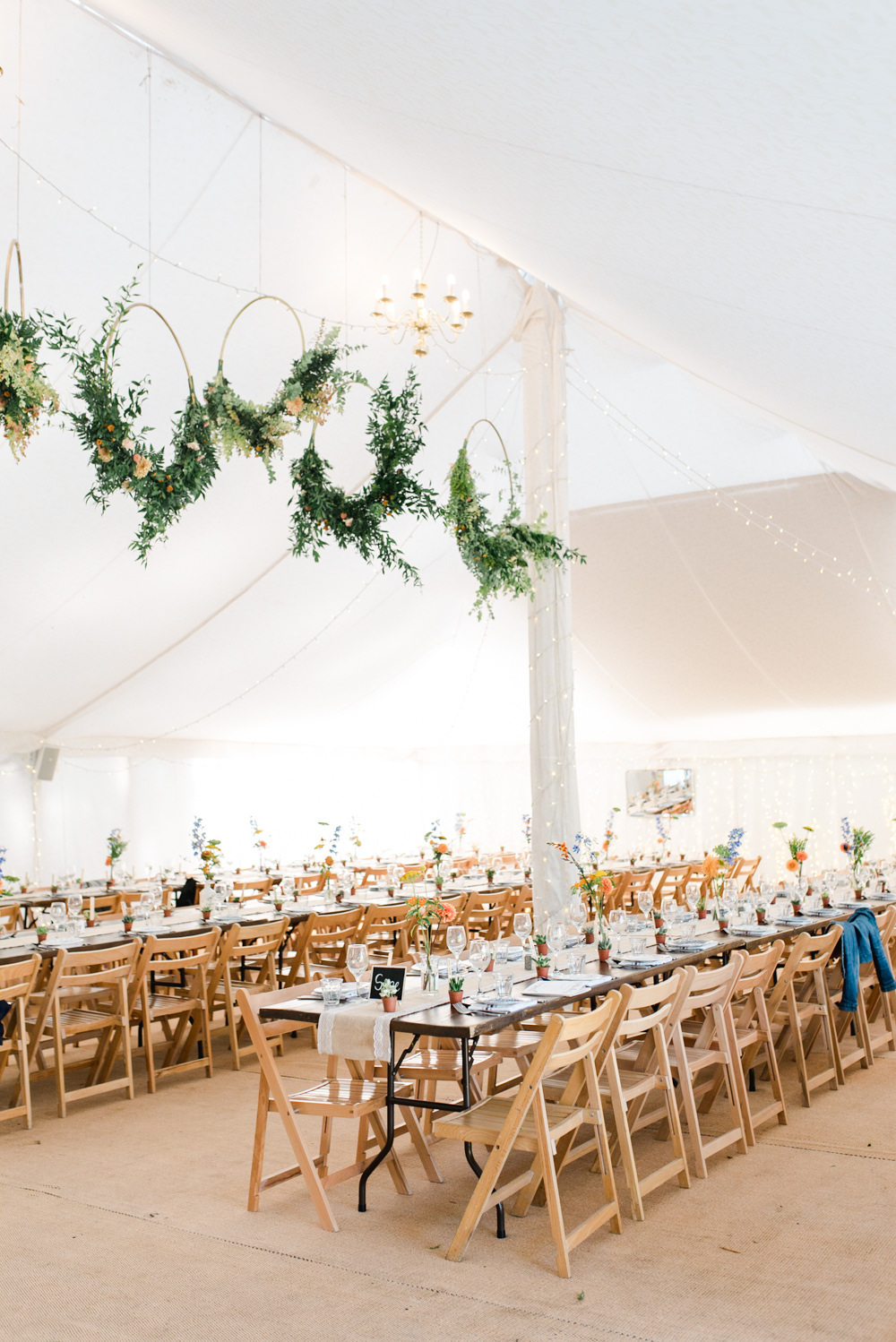 Marquee Fairy Lights Hoops Wreaths Greenery Foliage Flower Haning Suspended Long Tables Trestle Perch Inn Wedding Captured By Katrina