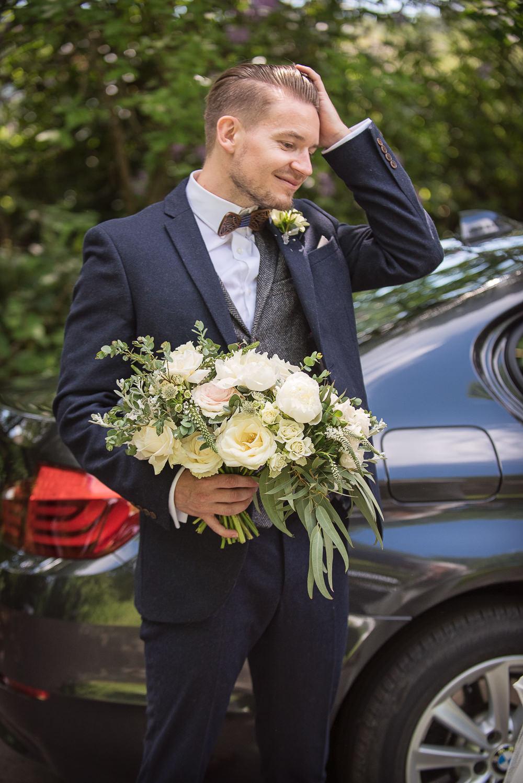 Groom Suit Navy Waistcoat Bow Tie Bouquet Flowers Bride Bridal Ivory Rose Peony Eucalyptus Sopley Lake Wedding One Thousand Words