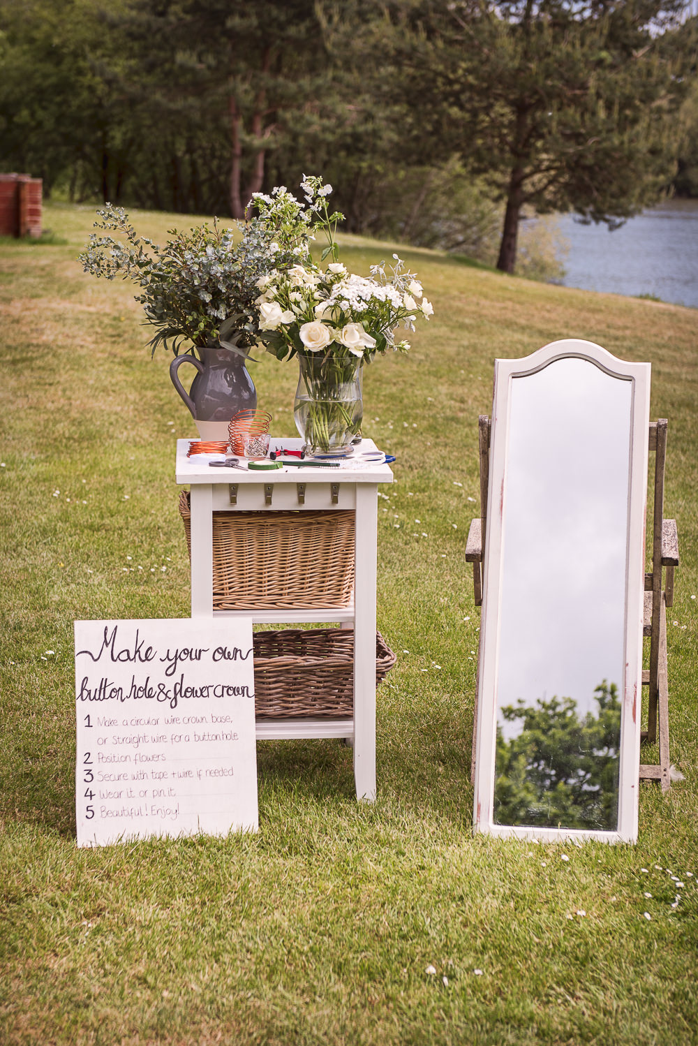 Buttonhole Flower Crown Station Sopley Lake Wedding One Thousand Words