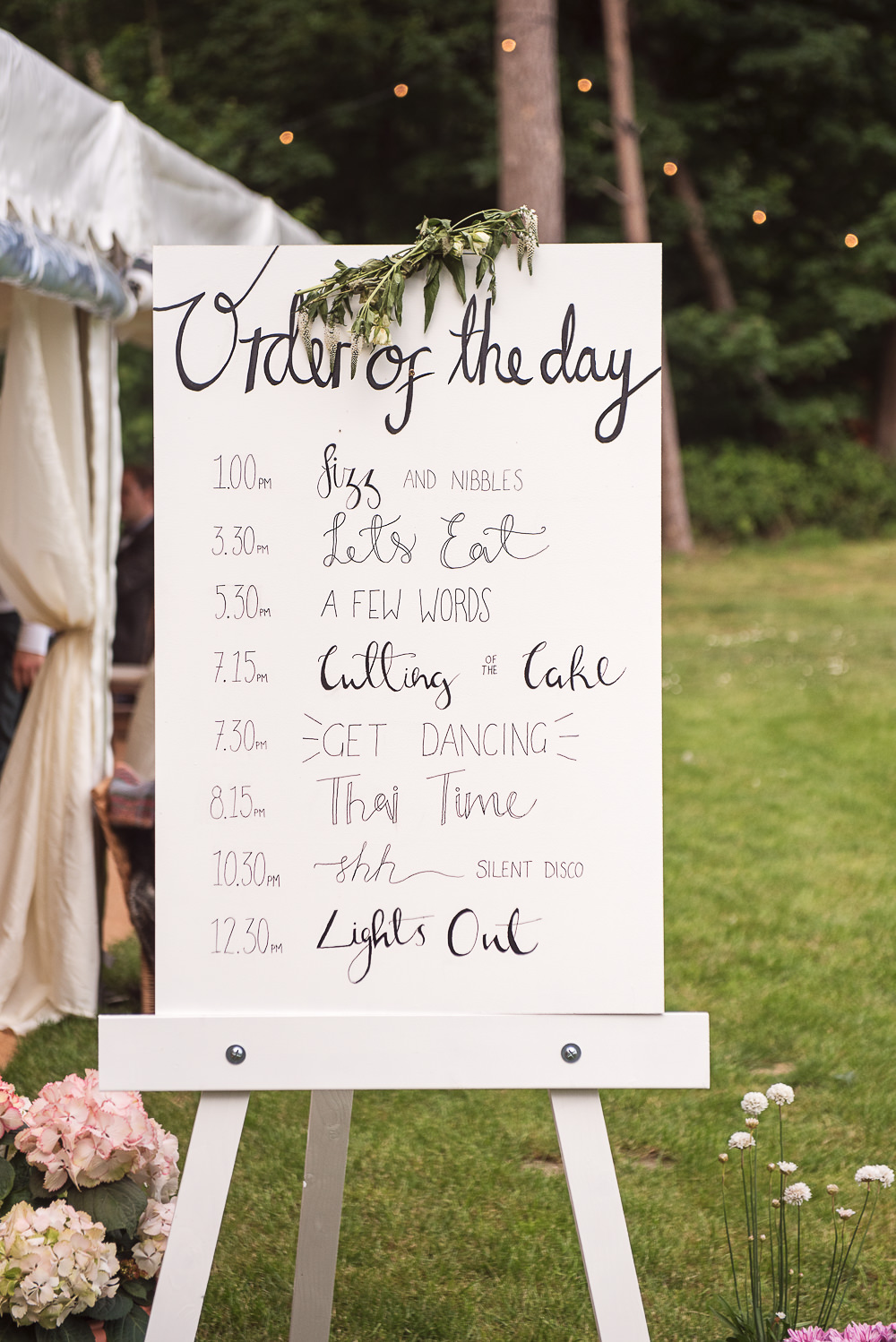 Order of the Day Sign Signs Signage Sopley Lake Wedding One Thousand Words