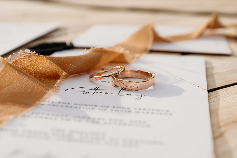 Rose Gold Rings Bands Balloon Wedding Ideas Leesha Williams Photography