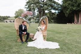 Compton Verney Wedding Danielle Smith Photography Peacock Chairs Neon Sign Backdrop Pink Gyp Gypsophila
