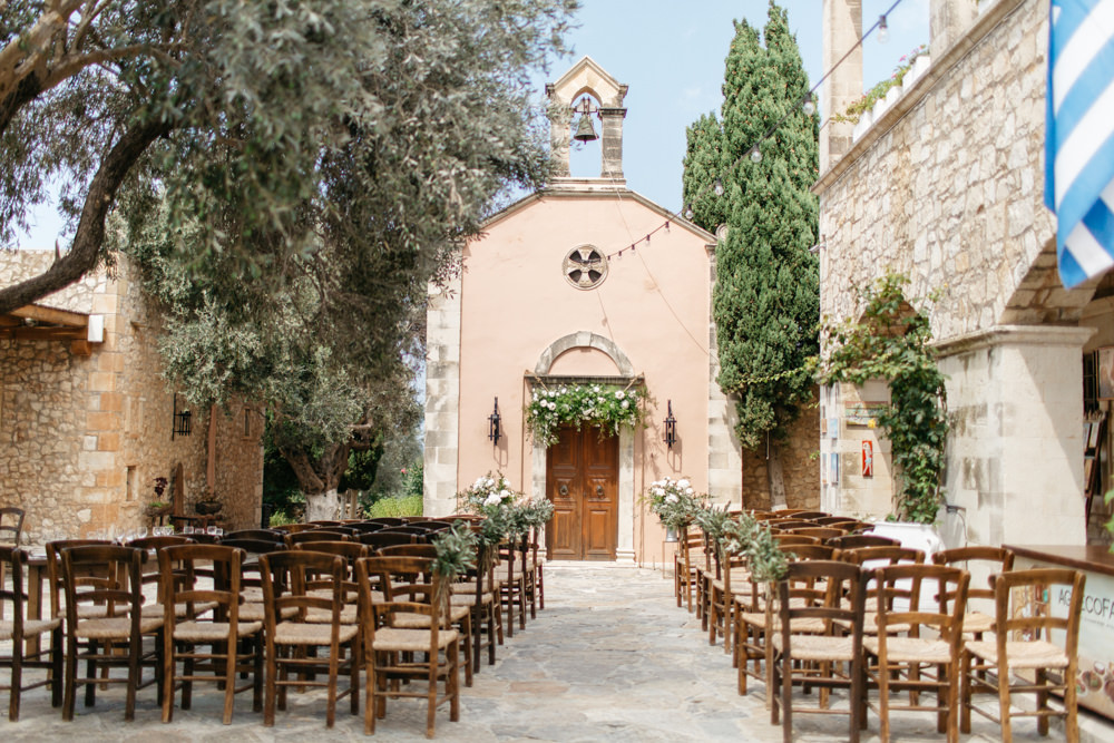 Ceremony Aisle Flowers Tall Doorway Arch Backdrop Crete Wedding HannaMonika Wedding Photography