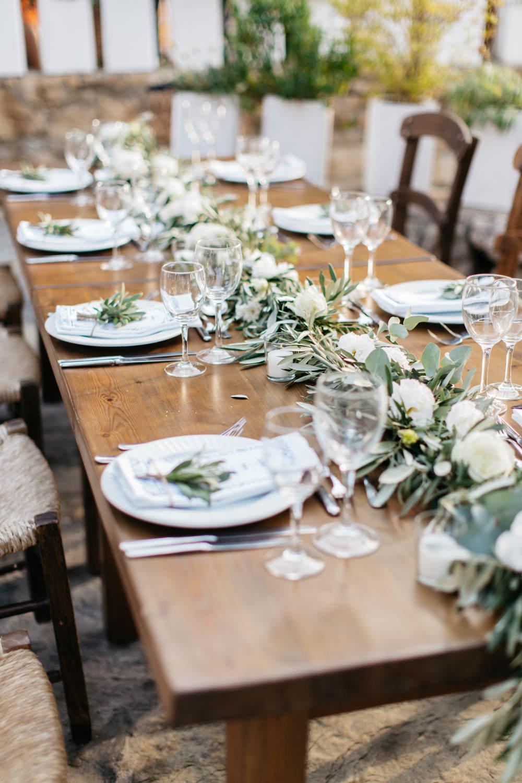 Table Centrepiece Swag Garland Greenery Foliage Crete Wedding HannaMonika Wedding Photography