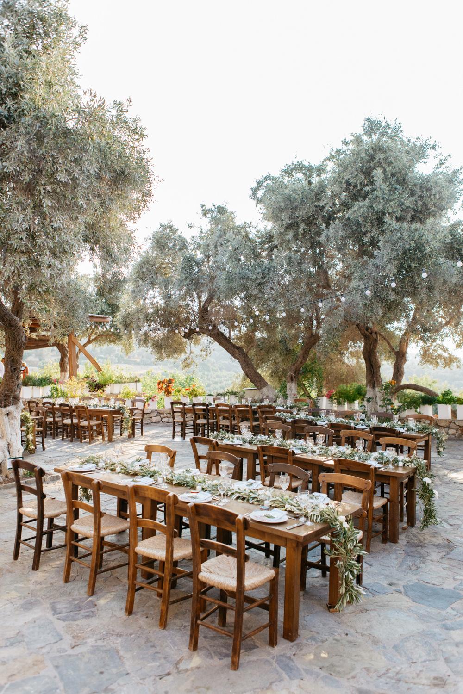 Outdoor Reception Tables Festoon Lights Crete Wedding HannaMonika Wedding Photography