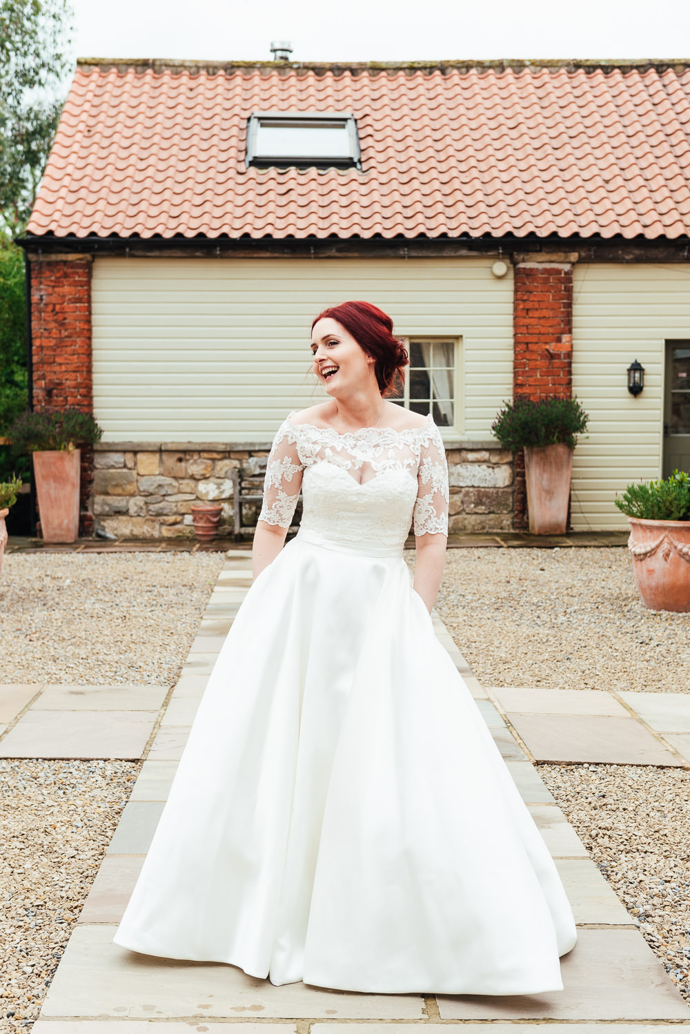 Dress Gown Bride Bridal Pockets Lace Sleeves Bow Back Bardot DIY Barn Wedding Jessica Grace Photography