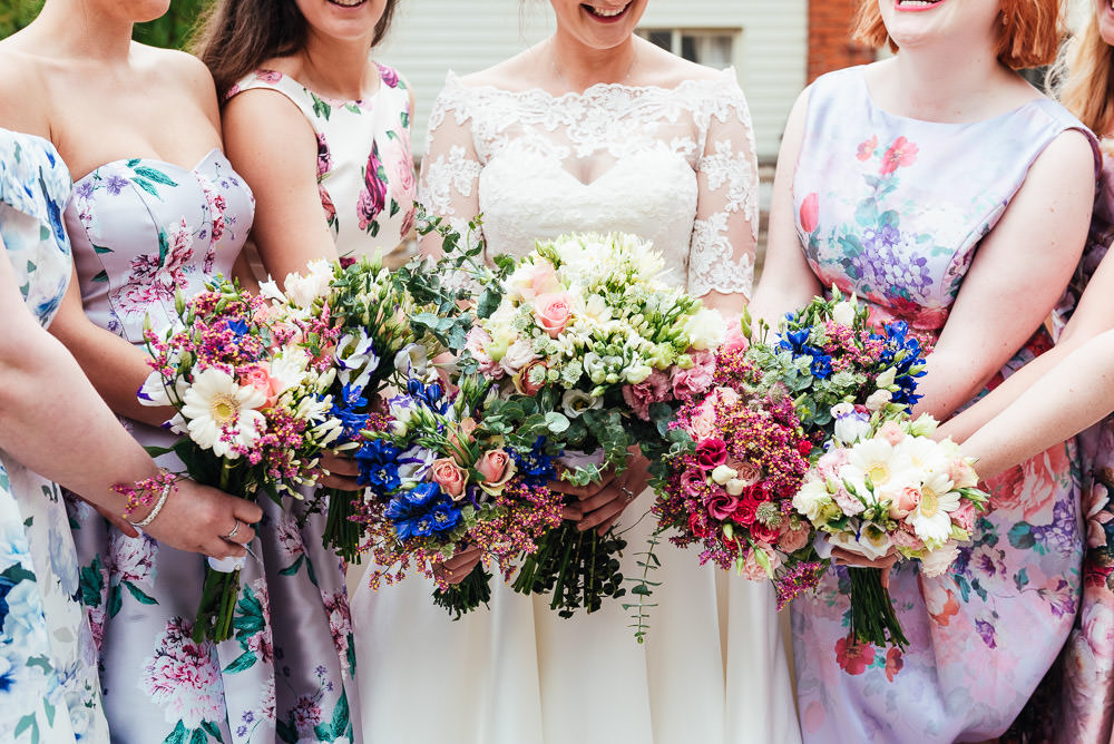 Bouquet Flowers Bride Bridal Pink Rose Greenery Bridesmaids DIY Barn Wedding Jessica Grace Photography