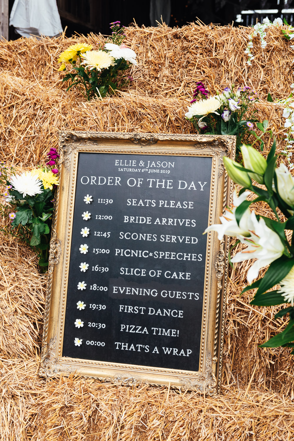 Order of the Day Sign Signs Chalk Board DIY Barn Wedding Jessica Grace Photography