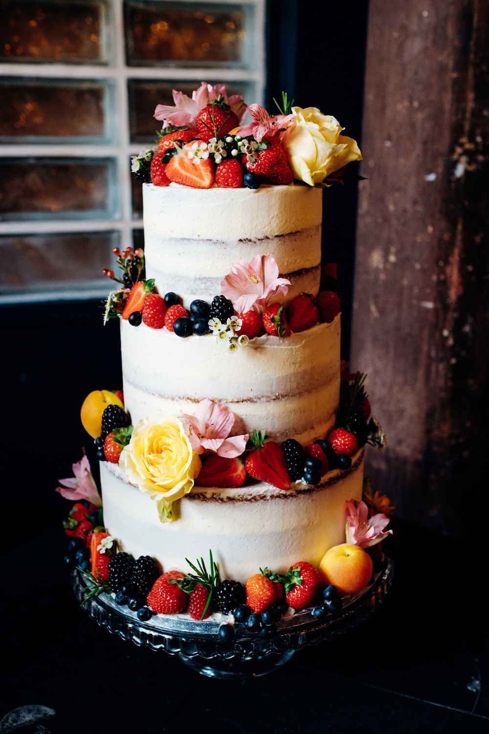 Semi Naked Cake Flowers Buttercream East London Wedding Marianne Chua Photography