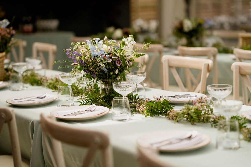 Table Decor Garland Flowers Centrpiece Long Tables Holford Estate Wedding Voyteck Photography
