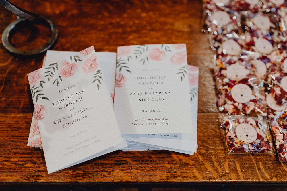 Order of Service Booklet Floral Intimate Pub Wedding Heather Sham Photography