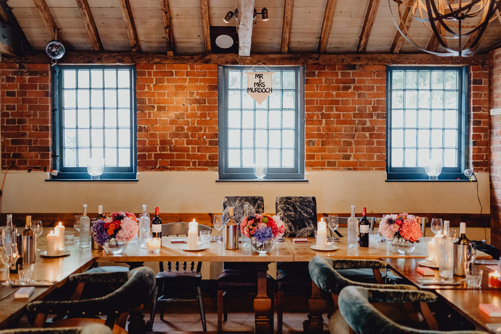 Table Decor Flowers Candles Wooden Intimate Pub Wedding Heather Sham Photography