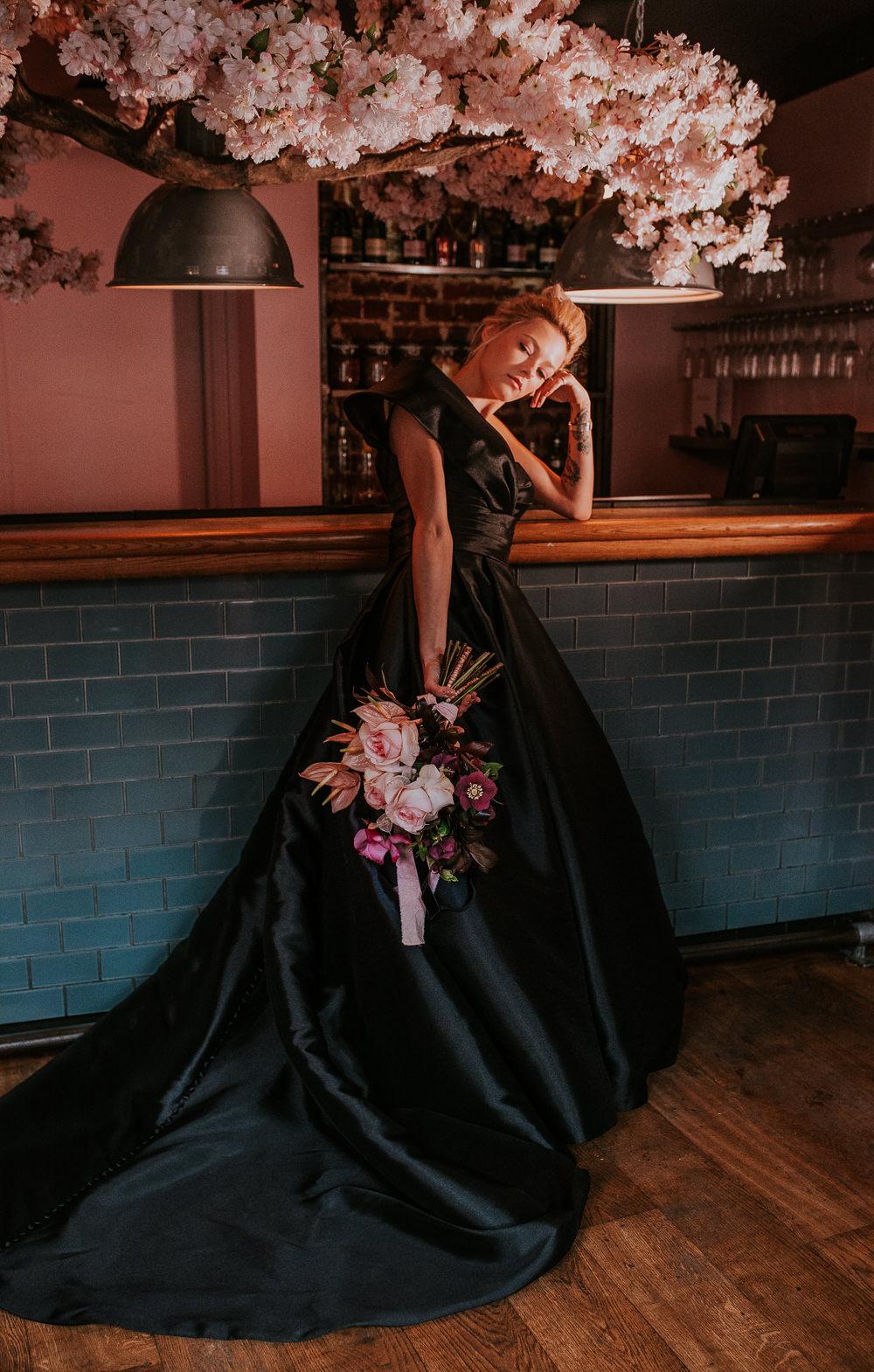 Black Dress Bride Bridal Gown Asymmetrical Modern Pink Wedding Ideas Aurora Grey Photography