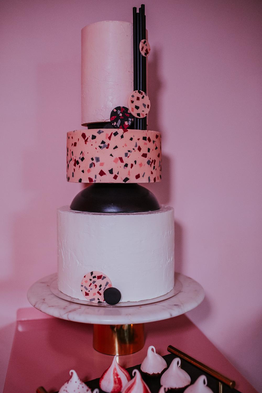 Terrazzo Cake Black Cool Edgy Modern Pink Wedding Ideas Aurora Grey Photography