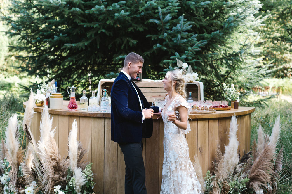 Wooden Bar Drinks Wood Woodland Pampas Grass Flowers Grasses Boconnoc Wedding Debs Alexander Photography