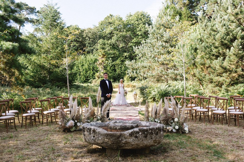 Ceremony Woodland Outdoor Circle Round Chairs Flowers Pampas Grass Palm Leaves Dahlias Aisle Boconnoc Wedding Debs Alexander Photography
